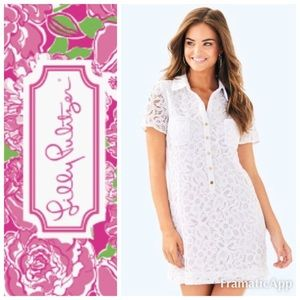 🆕💞LILLY PULITZER Nelle Dress White Floral Lace